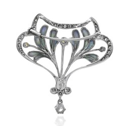 Nouveau 1910 Artic Collection Diamond and Enamel Brooch Pendant in Gold