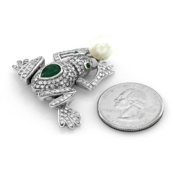 Emerald, Pave Diamond & Pearl Frog Brooch in 18K White Gold
