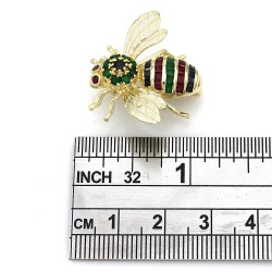 Emerald, Ruby and Sapphire Bee Brooch Pin in Gold