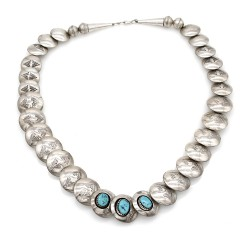 Navajo Sterling Silver Shadowbox Turquoise Stamped Disk Bead Necklace Signed EDE