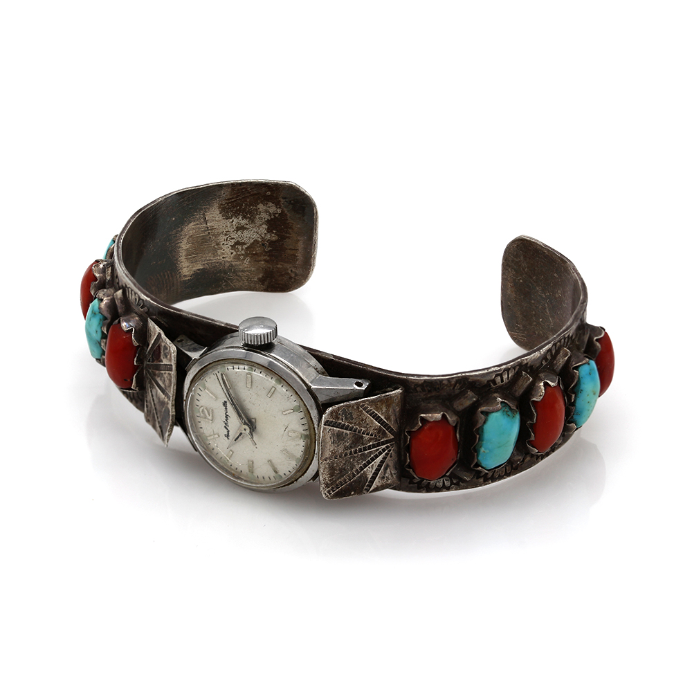 Zuni Sterling Silver Turquoise & Coral Watch Cuff Bracelet
