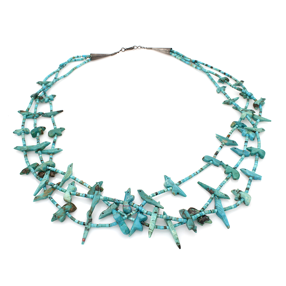 Ultra Fine Vintage Zuni 3 Strand Handmade Carved Turquoise Animal Fetish Necklace