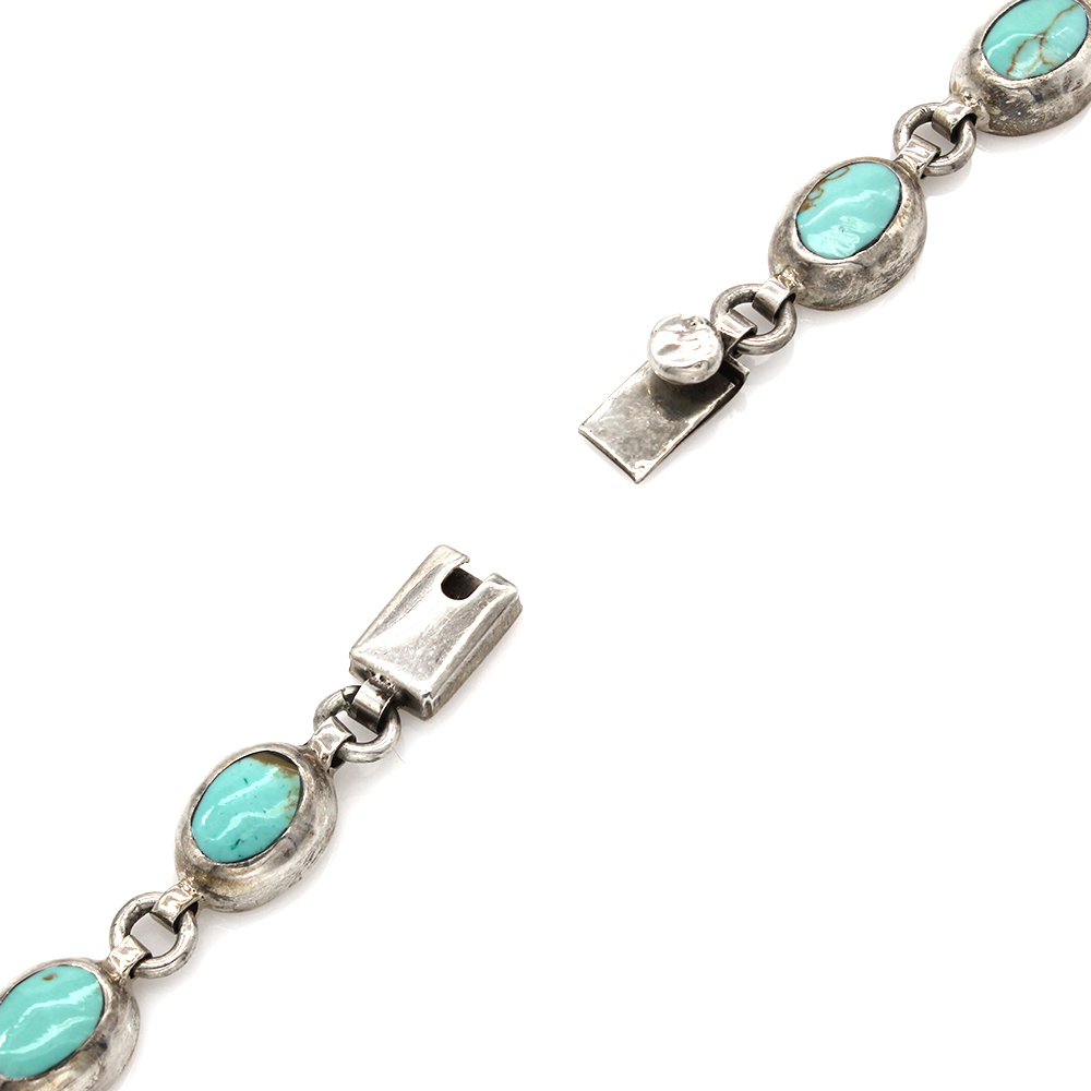 Vintage Mexican Solid Sterling Silver Turquoise Inlay Oval Link Bracelet