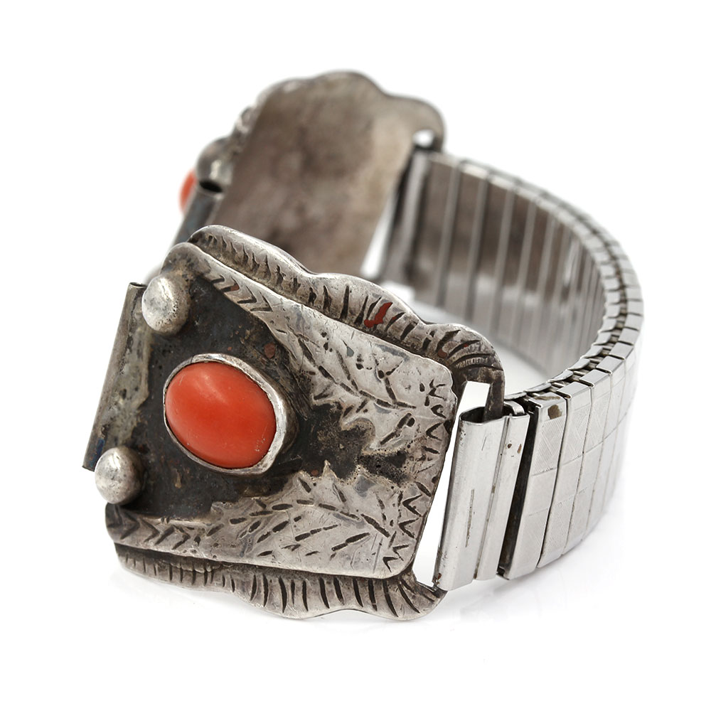 Navajo Sterling Silver & Red Coral Watch Bands