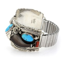 Navajo Sterling Silver Turquoise & Coral Badger Claw Watch Bands