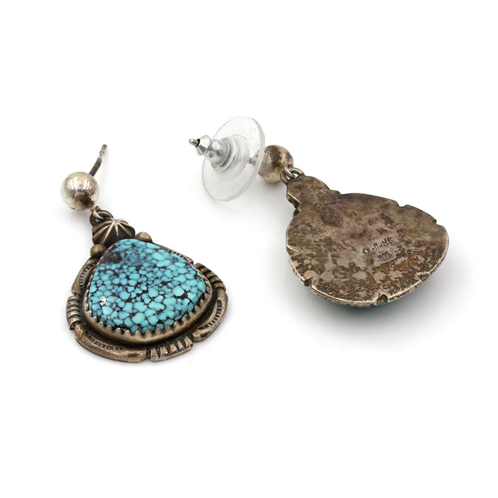 Navajo Oliver Smith Sterling Silver & Spiderweb Turquoise Earrings