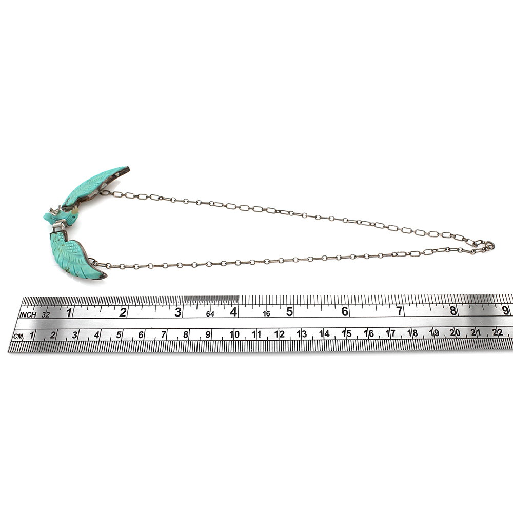 Navajo Sterling Silver & Carved Turquoise Eagle Necklace