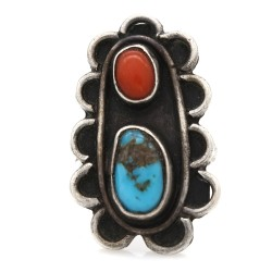 Navajo VB Signed Sterling Silver Turquoise & Coral Ring