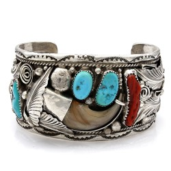 Mike Thomas Jr. Vintage Navajo Silver Turquoise Coral Claw Cuff Bracelet