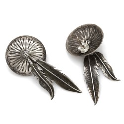 Navajo Sterling Silver Concho & Feathers Earrings
