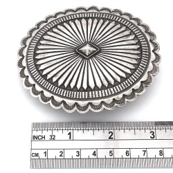 Vinage Navajo Hand Stamped Solid Sterling Silver Concho Belt Buckle