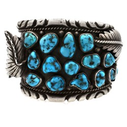 A&L WALLACE Zuni Sterling Silver Nugget Turquosie Cluster Watch Cuff Bracelet