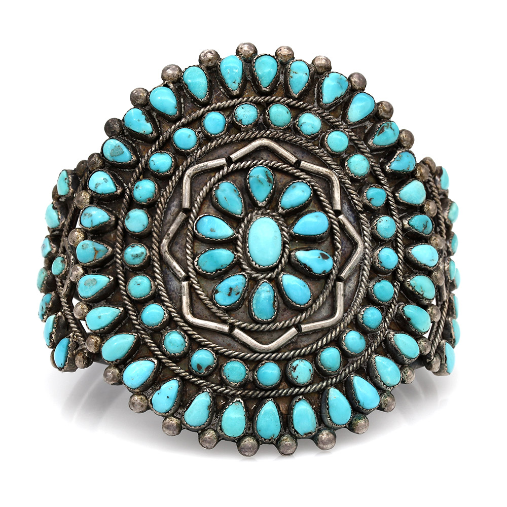 Zuni Sterling Silver & Natural Turquoise Cluster Cuff Bracelet