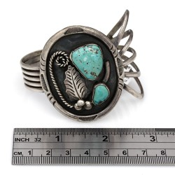 Navajo Louise Platero Sterling Silver & Natural Turquoise Cuff Bracelet
