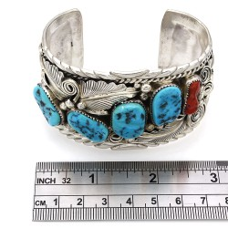 Mike Thomas Jr Navajo Sterling Silver Turquoise Coral Cuff Bracelet