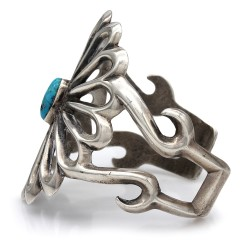 Large Navajo Sterling Silver & Turquoise Cuff Bracelet