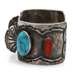 Vintage Navajo Handmade Sterling Silver Turquoise Coral Watch Cuff Bracelet