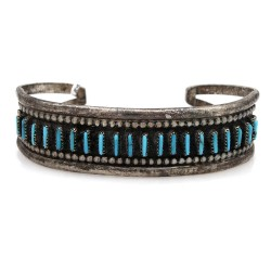 Vintage Zuni Handmade Sterling Silver Needlepoint Turquoise Cuff Bracelet