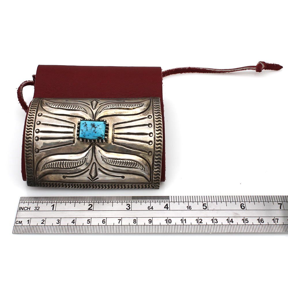 Vintage Navajo Heavy Stamped Sterling Silver & Turquoise Bow Guard Bracelet