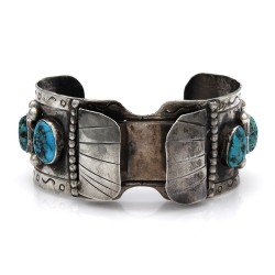 Vintage Navajo Handmade Solid 925 Silver Turquoise Watch Cuff Bracelet