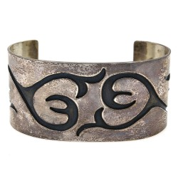 Navajo Sterling Silver Overlay Cuff Bracelet