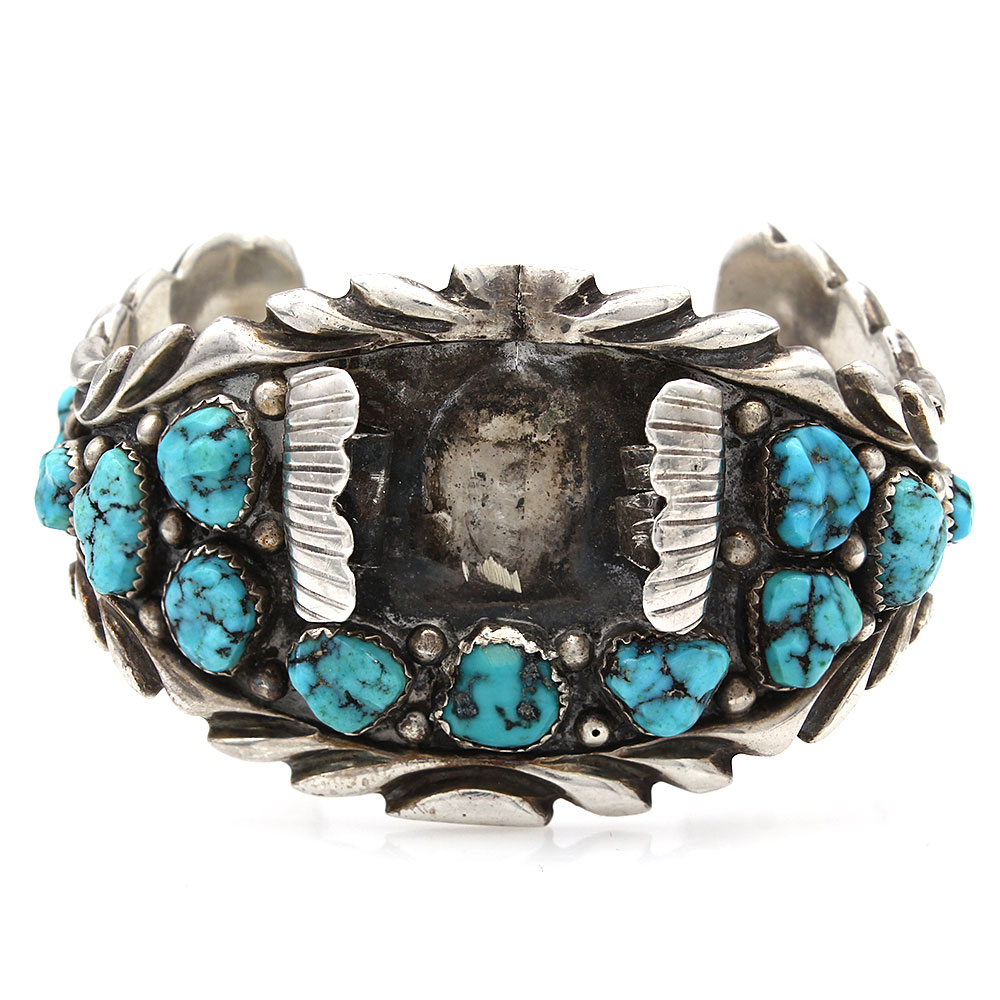 Navajo Signed B.T.Sterling Silver & Turquoise Watch Cuff Bracelet