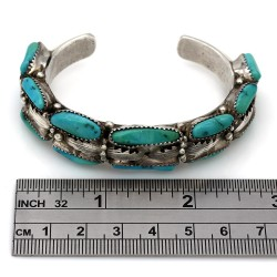 Navajo Jackie Singer Sterling Silver & Turquoise Cuff Bracelet