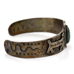 Navajo Sterling Silver & Turquoise Cuff Bracelet