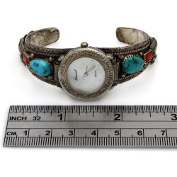 Navajo Sterling Silver Turquoise & Coral Watch Cuff Bracelet