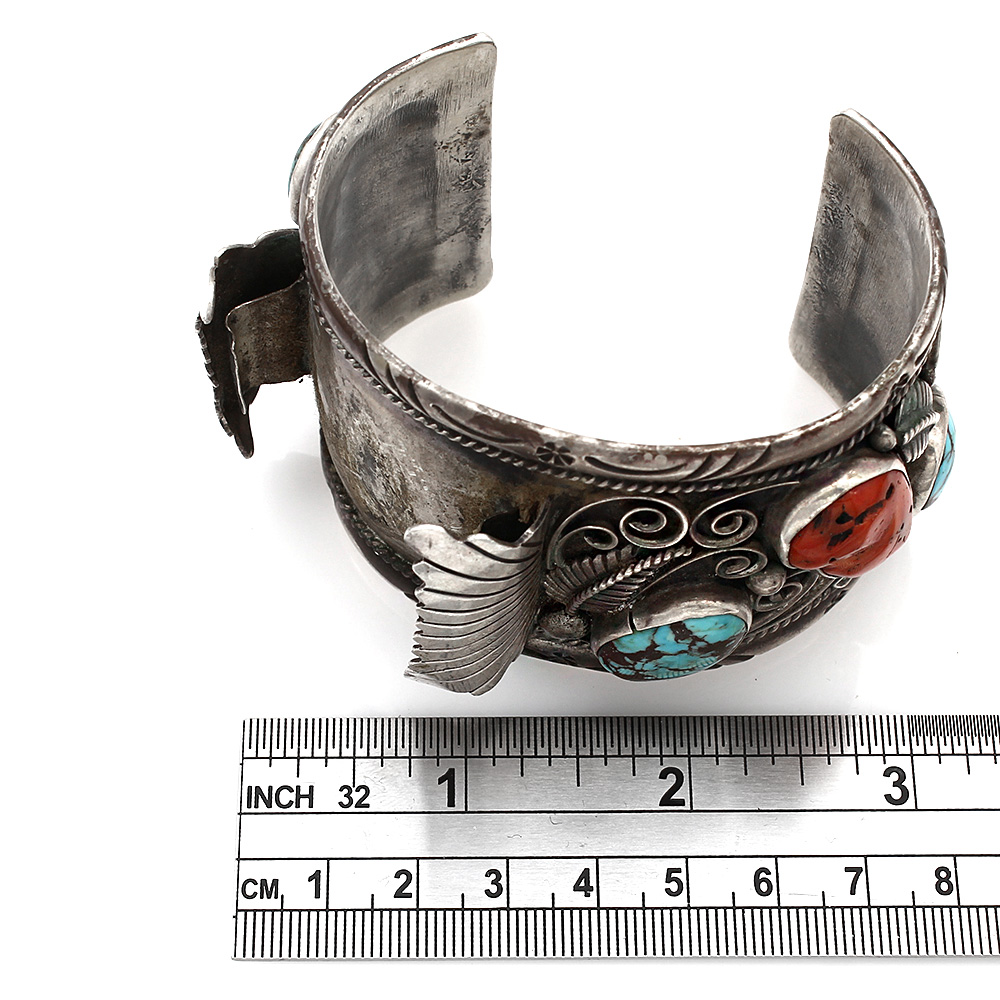 Navajo Signed Sterling Silver Turquoise & Coral Watch Cuff Bracelet