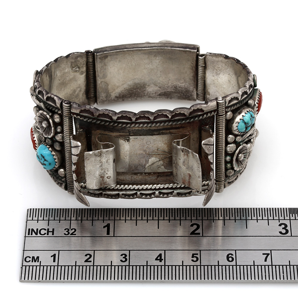 Navajo Lee H Nez Sterling Silver Turquoise & Coral Watch Bracelet