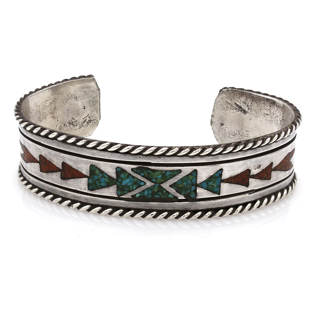 Navajo Handmade Sterling Silver Turquoise Coral Inlay Cuff Bracelet Signed P