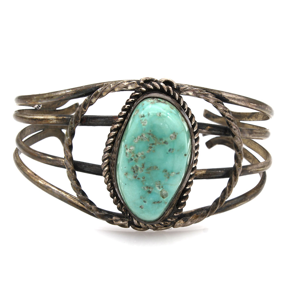 Vintage Navajo Handmade Sterling Silver Turquoise Cuff Bracelet