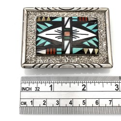 Earline Bowannie Zuni Sterling Silver Turquoise Coral Shell Inlay Belt Buckle