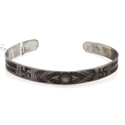 Navajo Stamped Sterling Silver Cuff Bracelet