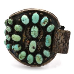 Large Navajo Sterling Silver & Turquoise  Watch Cuff Bracelet