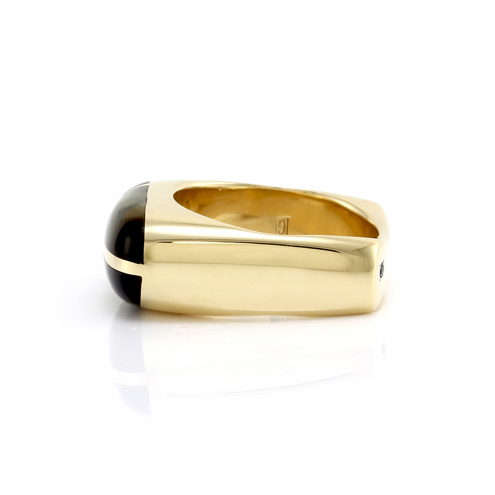 Gauthier Gent's Tiger's Eye & Onyx Inlay Ring in 14K Yellow Gold
