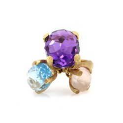 Nanis Bon Bon Quartz and Topaz Ring in Gold