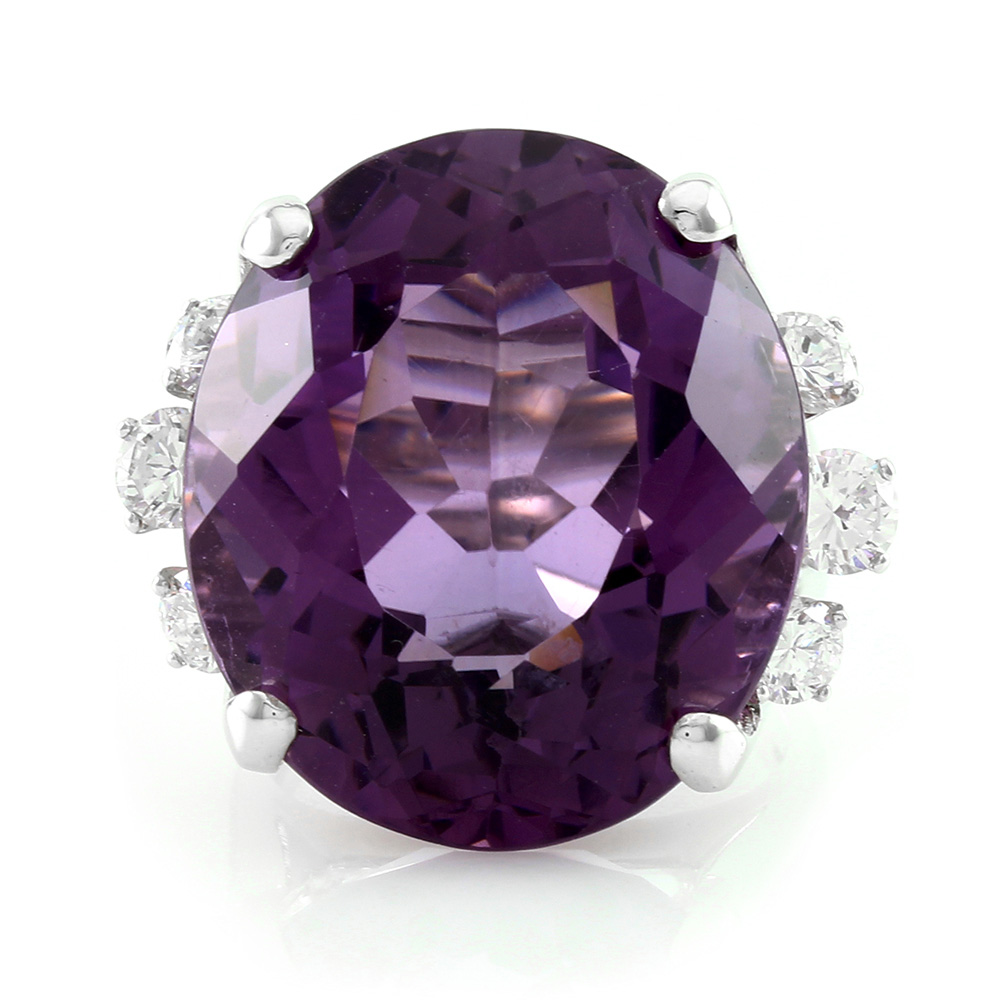 34.80ct Oval Amethyst Ring with Diamond Accents in 14K White Gold