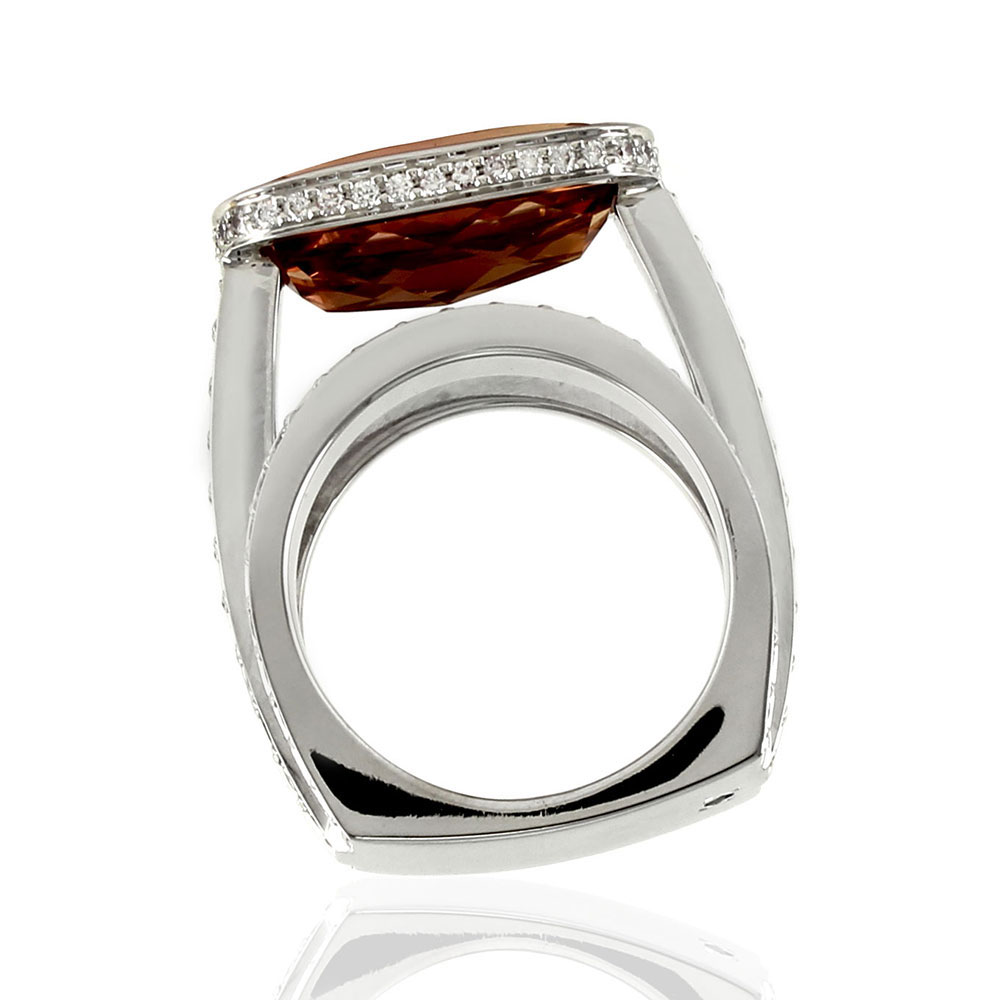 Gauthier Precious Topaz and Pave Diamond Ring in Gold