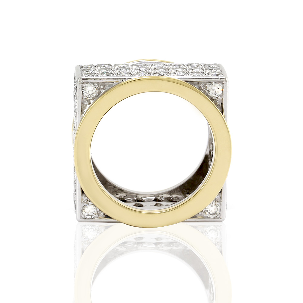 Two Tone Pave Diamond Square Eternity Band/ Ring in 18K Yellow/ White Gold