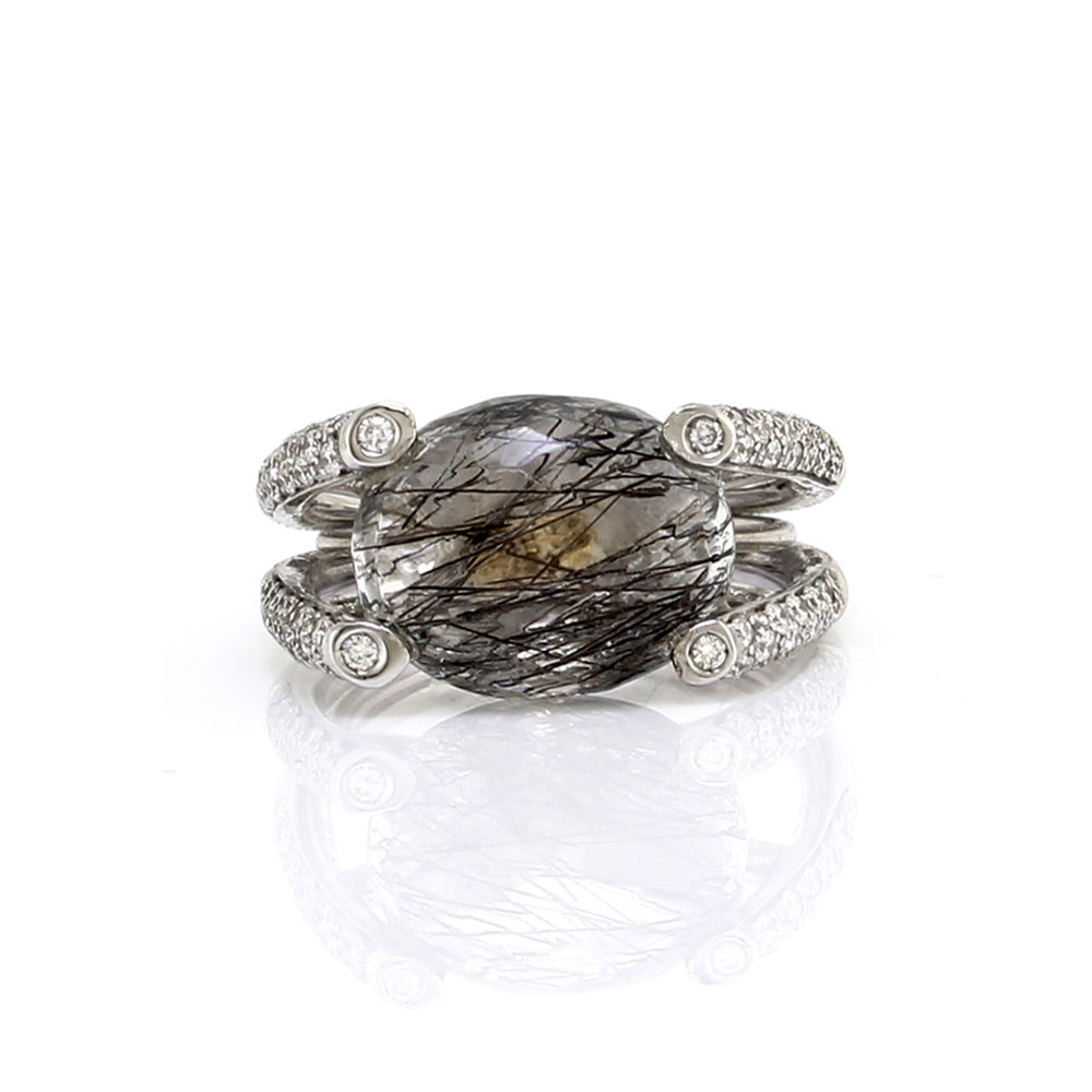 Nanis Rutilated Quartz and Pave Diamond Ring in Gold