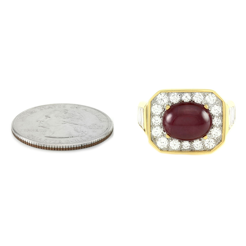 Custom Ruby Cabochon & Pave Diamond Halo Ring in 18K Gold