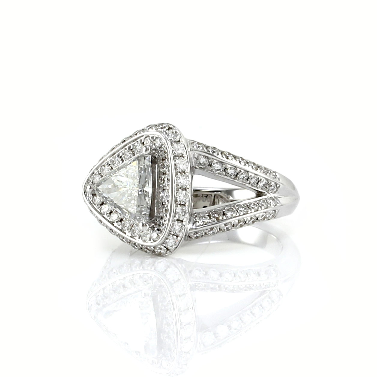 Trillion and Pave Diamond Halo Ring in Gold