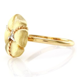 Nanis Amarcord Collection Ring with Diamond Solitaire in 18K Yellow Gold