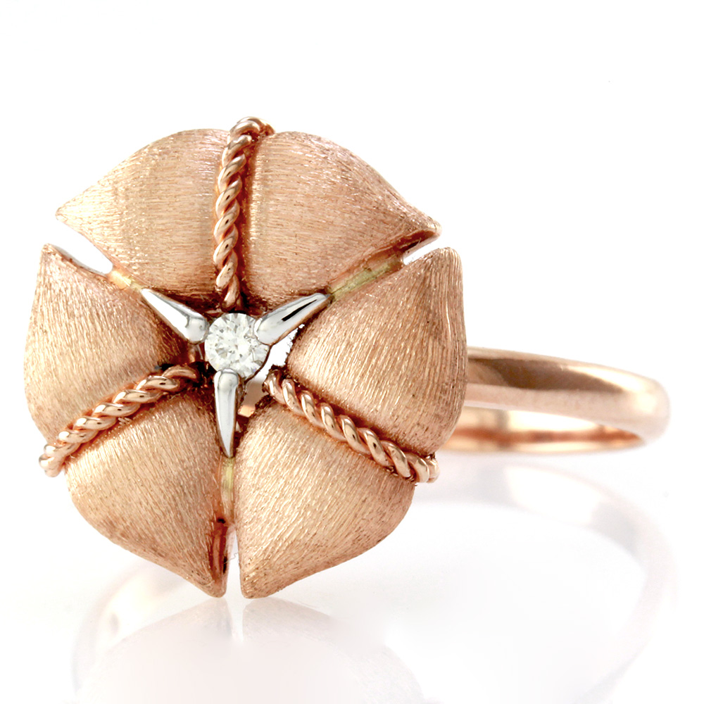 Nanis Amarcord Collectio Ring with Diamond Solitaire in 18K Rose/ Pink Gold