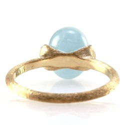 Nanis Dancing in the Rain Collection Aquamarine and Pave Diamond Ring in 18K Yellow Gold