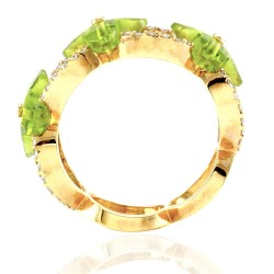 Norman Covan Peridot Flower and Diamond Ring in Gold