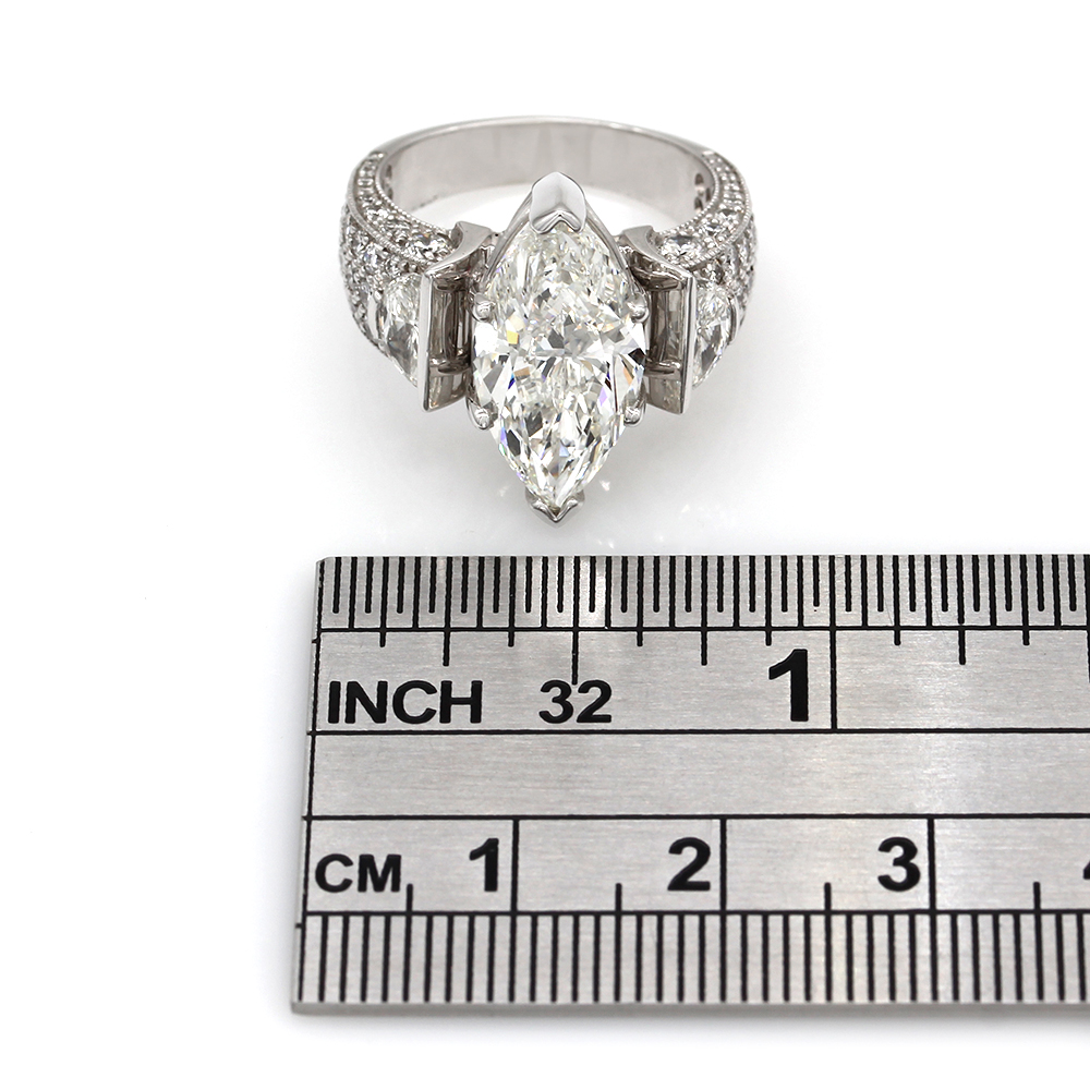 14kw Marquise Engagement Ring with Half Moon Side Diamonds