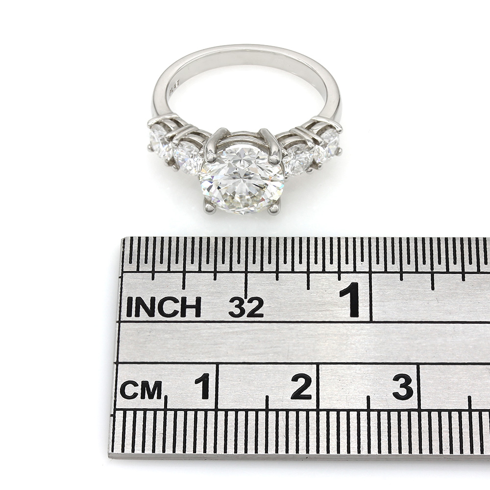 Plat 5 Stone Engagement Ring Round Center